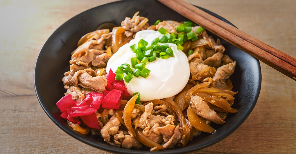 What is donburi? Bowl of rice with toppings