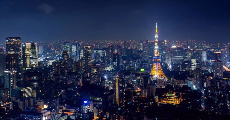 Best month to go to Tokyo, night cityscape