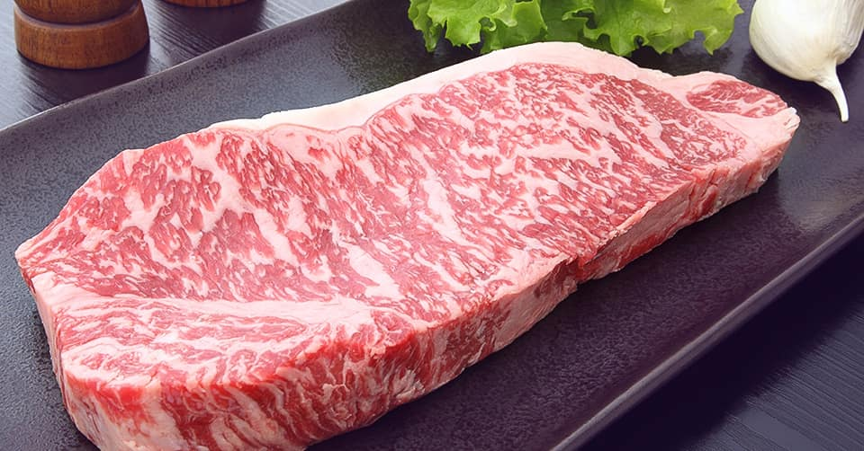 Wagyu, Japanese beef cut, angled view of marbling