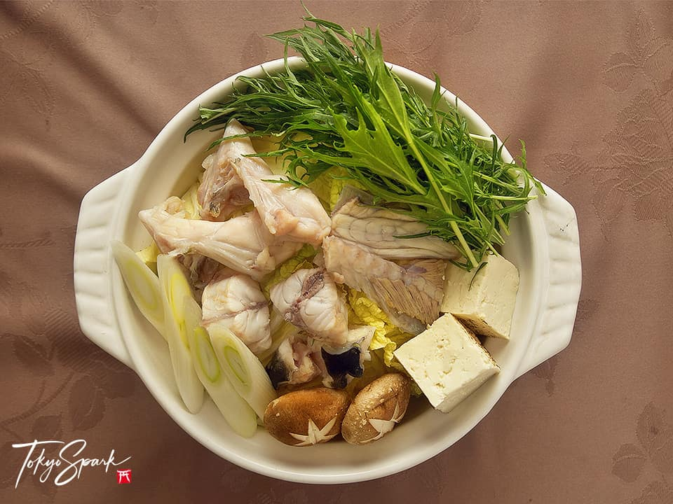 Fugu nabe, stew, hotpot dish in earthenware pot