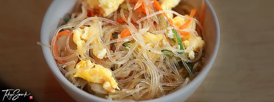 Harusame (glass noodles) in a bowl