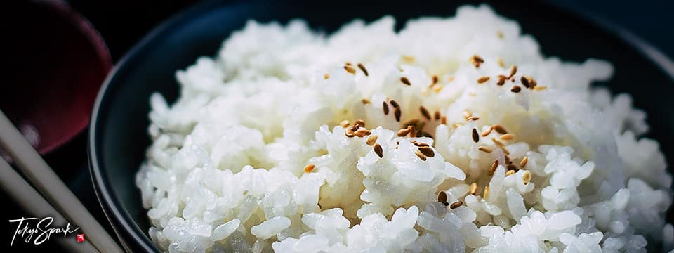 Closeup of Japanese white rice in a dark bowl