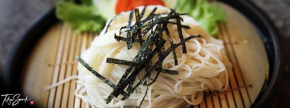 Somen with nori seaweed on top