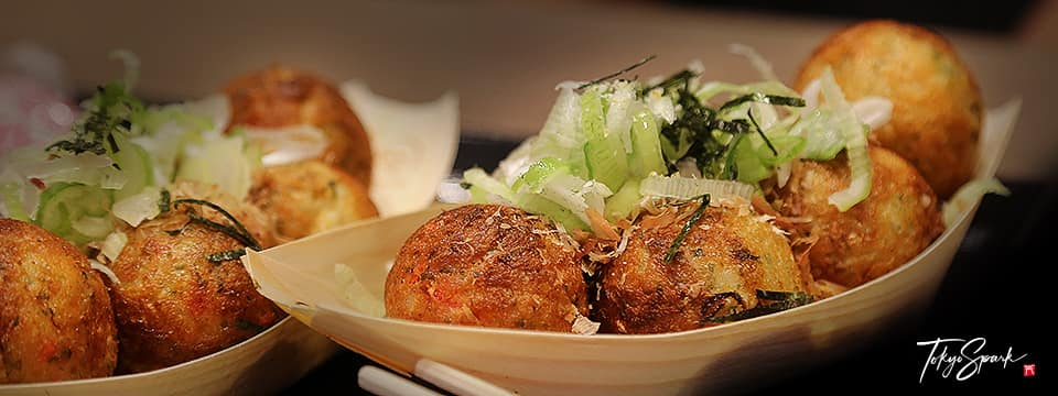 Takoyaki as sold by shops