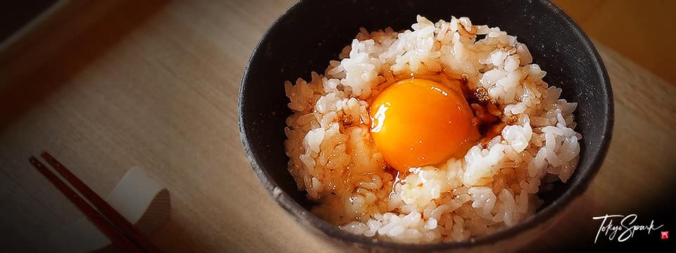 Tamago kake gohan, egg on rice with soy sauce
