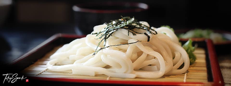 Udon, Japanese noodles on bamboo mat